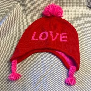 Red and pink winter hat
